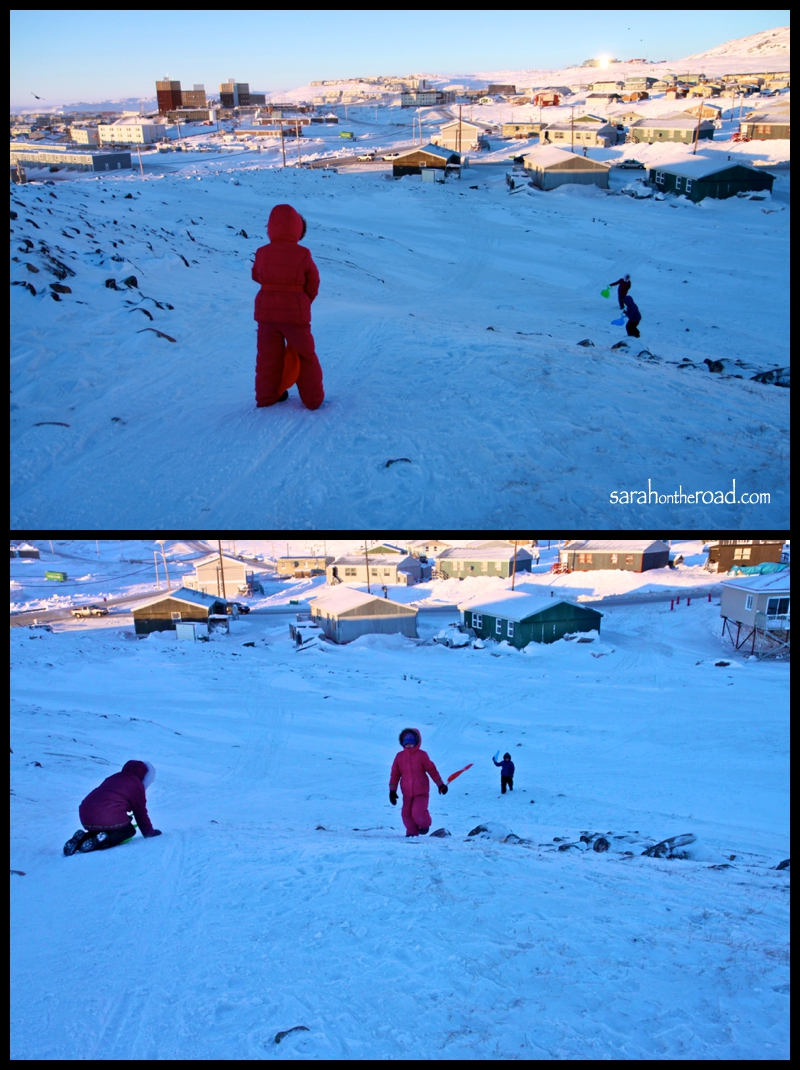 Sledding with the girls... in Iqaluit