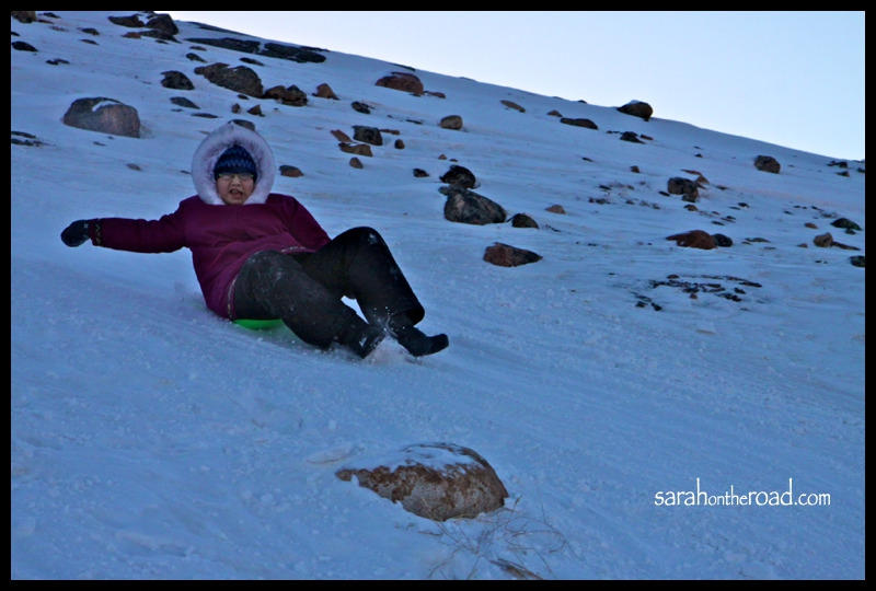Sledding with the girls.. in Iqaluit