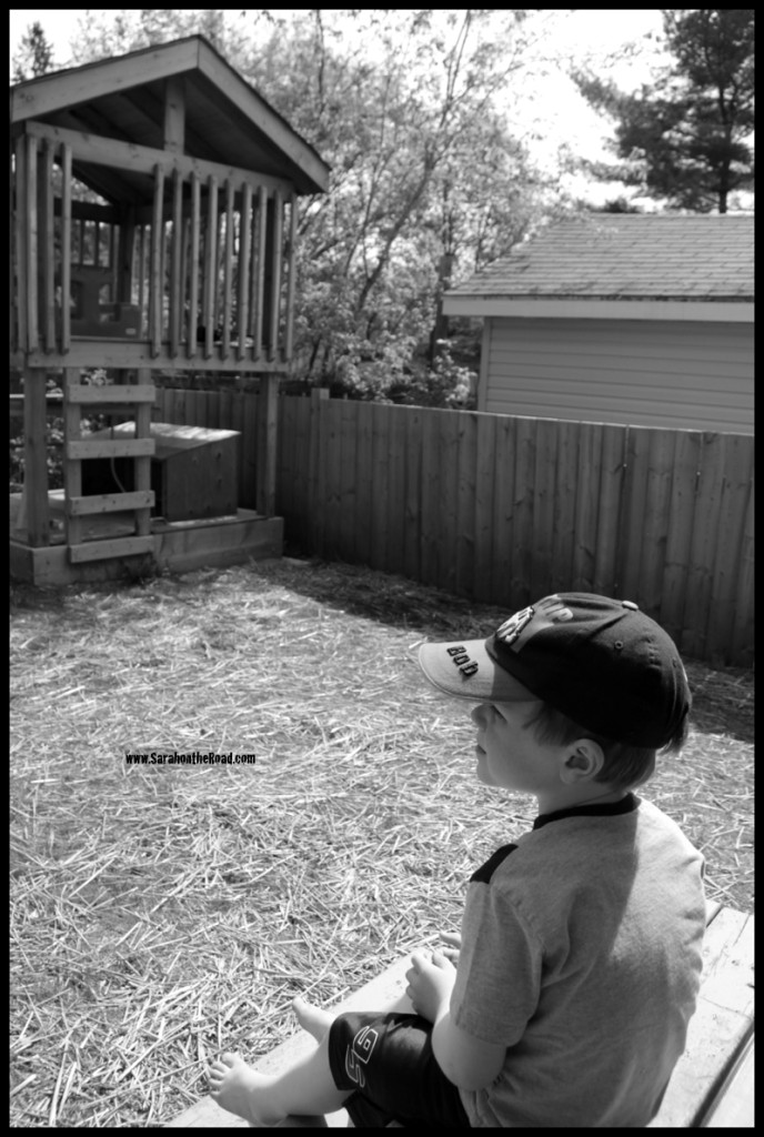 boy sitting in back yard