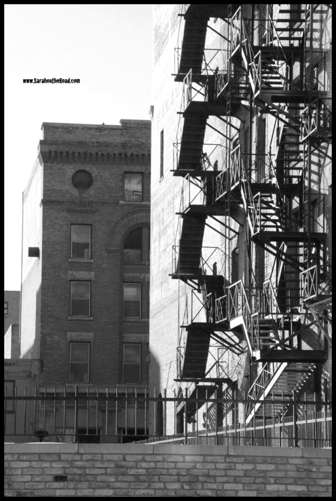 Black & White Shot of alley with shadows and fire escapes