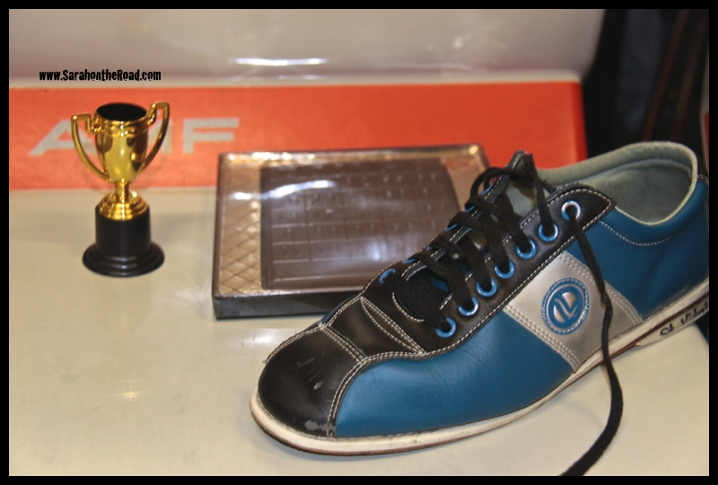 Trophy + chocolate + bowling shoes