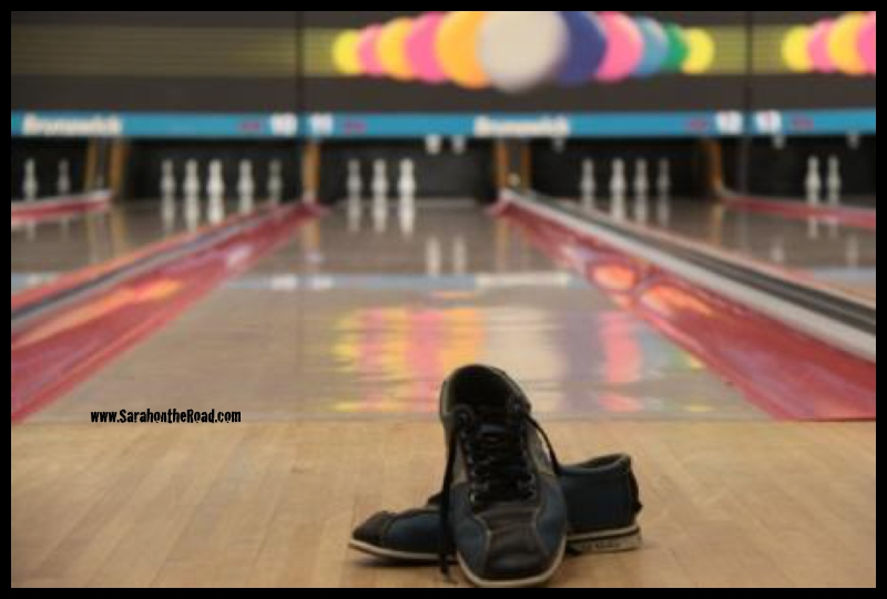 Bowling shoes and bowling lane...