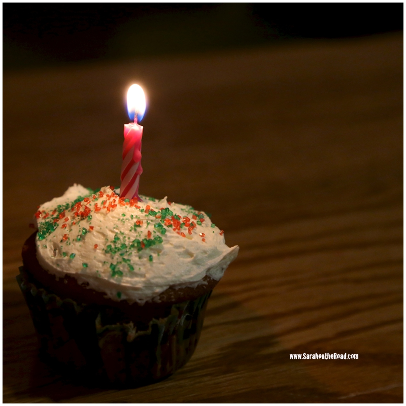 cupcake with candle in it